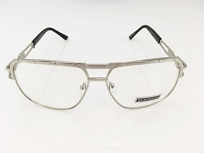 CLASSIC VINTAGE RETRO AVIATOR Style Clear Lens EYE GLASSES Large Silver Frame