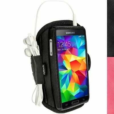 iGadgitz Water Resistant Black Sports Jogging Gym Armband for Samsung Galaxy S5