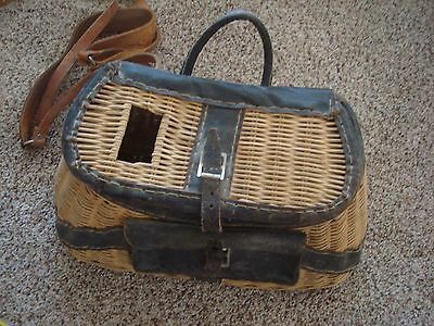 VINTAGE WICKER FISHING BASKET & back strap Leather nice