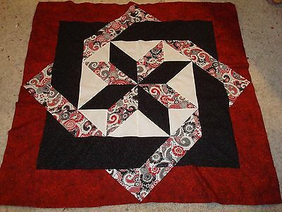 BLACK & RED LABYRINTH Quilt Top - Not Quilted, Machine Pieced