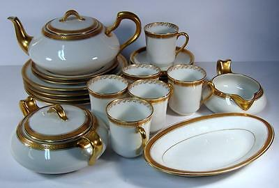 Antique Haviland Limoges White w/ Gold Encrusted Laurel Tea Set 24 Pieces 20535