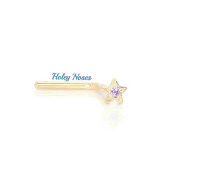 18ct Yellow Gold gem set Star  Nose Stud Ring Pin Bone amethyst CZ