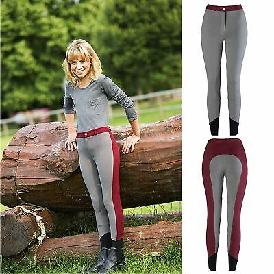Equi-Theme Pro Kids ?Fun Line? Breeches Grey/Burgundy