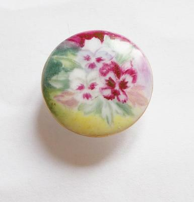 Vintage Early 1900's Edwardian Porcelain Pansy Hand Painted Button