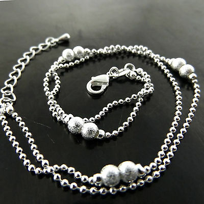 A781 Genuine Real 925 Sterling Silver S/f Ladies Bead Design Xl Bracelet Anklet