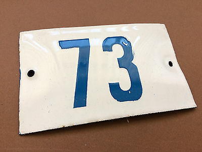 VINTAGE ENAMEL SIGN TIN PORCELAIN HOUSE NUMBER 73 DOOR GATE WHITE BLUE 1950's