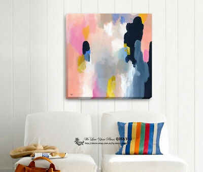 Abstract Colour Pattern Stretched Canvas Print Framed Wall Art Decor Painting
