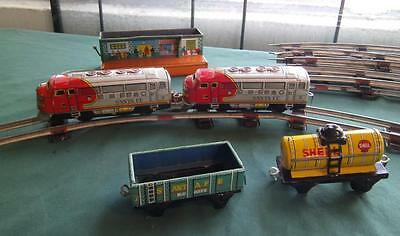 1950's Japan Tin Litho Train Santa Fe Engine Track Shell Oil Tank Ho Scale Set