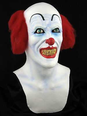 Pennywise or Scary Clown Mask Halloween Horror Haunt Latex Mask Prop, NEW