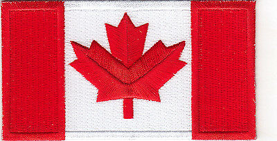 """CANADA FLAG-CANADIAN (4 1/2"""" x 2 1/2"""")-Iron On Embroidered Patch, Flag of Canada"""
