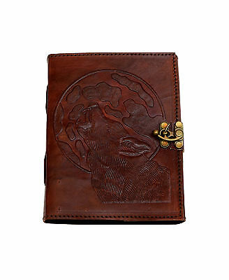 Wolf Howl Fox Vintage Leather Journal Diary NEW PAPER ART Cotton Handmade India
