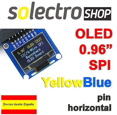 "OLED 0.96"" A 128x64  Display Yellow Blue SPI/I2C  ARDUINO UNO MEGA STM P0024"