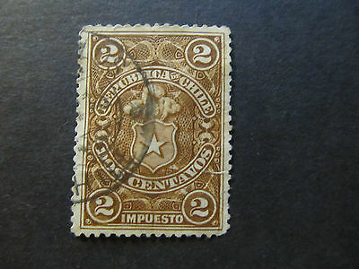 Chile - Tax Stamp - Coat Of Arms - 2 Centavos (21)