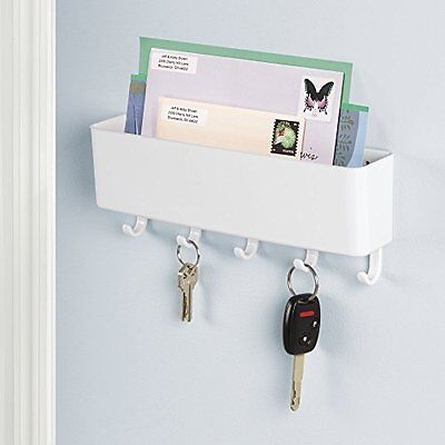 mDesign Mail, Letter Holder, Key Rack Organizer for Entryway, Kitchen - Wall