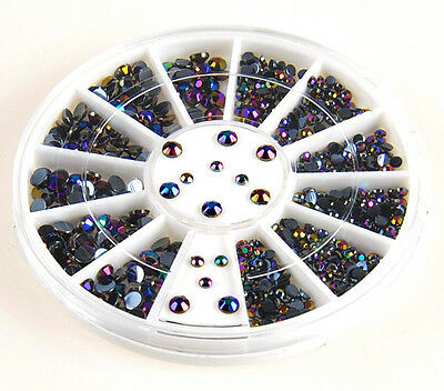 3D Nail Art Tips gems 300pcs Crystal Glitter Rhinestone DIY Decoration + Wheel