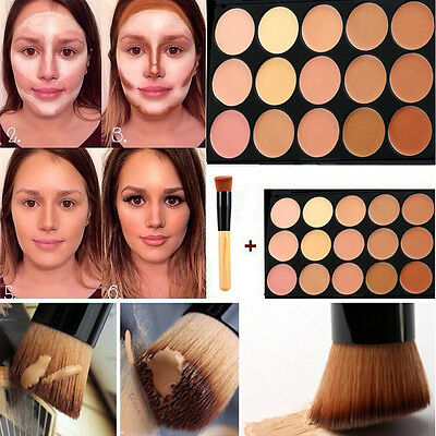 New 15 Colors Face Contour Cream  Makeup Concealer Palette Kit With Brush