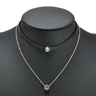New Fashion Women Jewelry Two Layers Leather Rhinestone Necklace Chain Girl Gift