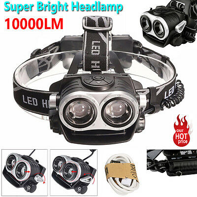 10000LM Cree 2x T6 LED USB Rechargeable 18650 Headlamp Headlight Super Torch UK