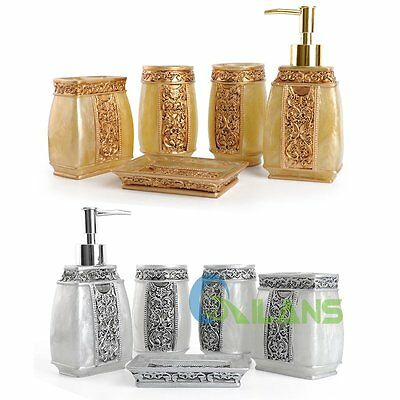 Bathroom Accessories Set 5Pcs Rome Aristocracy Resin Cup Toothbrush Holder 【AU】