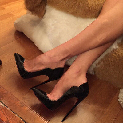 Women Sexy Pointed Toe High Heel Red Bottom Ladies Black Shoes Pumps