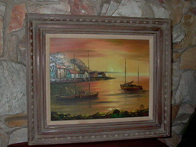Mary Botto Oil on Canvas Seascape Sailboat Painting