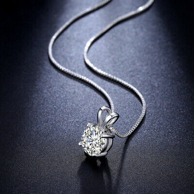 925 Argento Sterling Cristallo Collana Con Ciondolo Diamante Catena Regalo