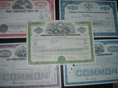 SCRIPOPHILY 5 DIFFERENT  VINTAGE CERTIFICATES  SHAREs AS IN PICTURES