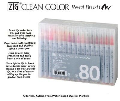 ZIG Kuretake Clean Color Real Brush Watercolour Pens (Set Of 80)