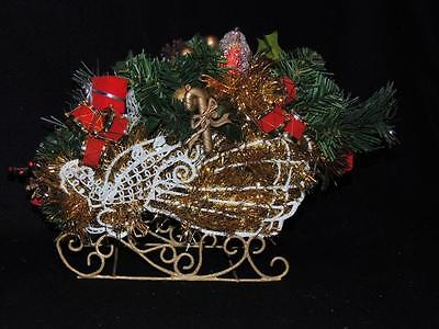 """DRAMATIC ANGEL WIRE SLEIGH INCLUDES FLORAL ARRANGEMENT (9"""" Long)   - NEW"""