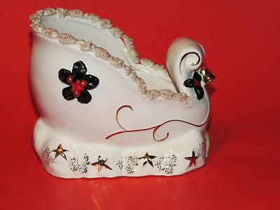CHARMING GLAZED CERAMIC NAPCO SLEIGH PLANTER or CANDY DISH (1940-50's) -MINT!!