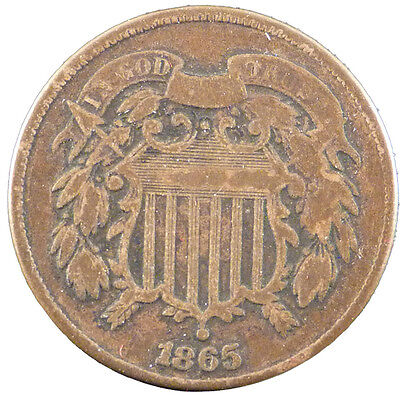 [#21048] UNITED STATES, 2 Cents, 1865, U.S. Mint, KM #94, EF(40-45)