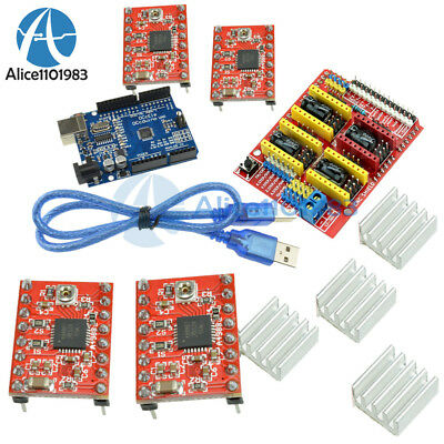 CNC Shield V3.0+ UNO R3 Board + A4988 Driver + Heatsink Kits for Arduino CNC Kit