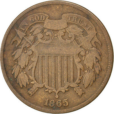 [#59586] UNITED STATES, 2 Cents, 1865, U.S. Mint, KM #94, EF(40-45)