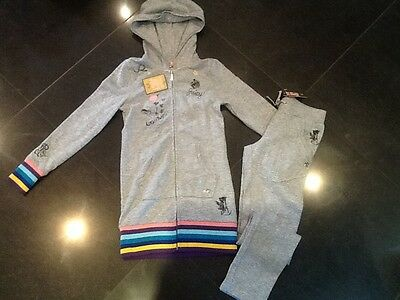 NWT Juicy Couture New Genuine Girls Age 8 Grey Cotton Tracksuit With Juicy Logo