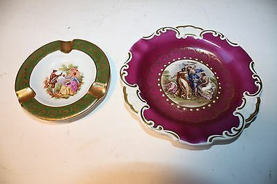 2 Vintage China / Porcelain Collectible Ashtrays Limoges Mitterteich