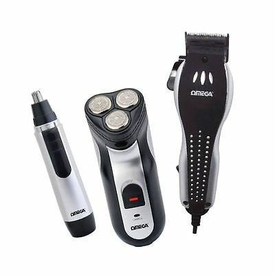 Omega Mens Hair Clipper Rechargeable Shaver Nasal Nose Ear Trimmer Grooming Set