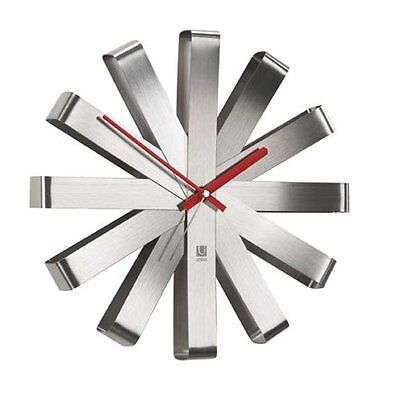 """Umbra 12"""" Ribbon Brushed Stainless Steel Wall Clock 118070-590"""