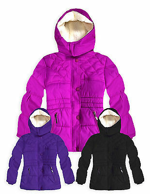 Girls Padded Winter Puffa Jacket New Kids Fur Lined School Coats Ages 4-14 Years