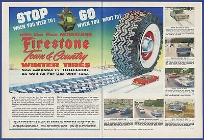 Vintage 1955 FIRESTONE Town & Country Winter Tires Print Ad 1950's 50's