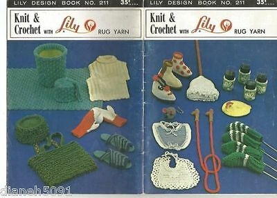 Vintage Knitting &  Crochet Pattern Book Slippers Mats Much More