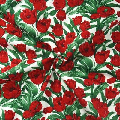 100% Cotton Poplin Fabric John Louden Poppy Heads Stem Poppies Garden Flowers