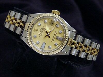 Rolex Datejust Lady 14K Yellow Gold Stainless Steel Watch Champagne Diamond 6917