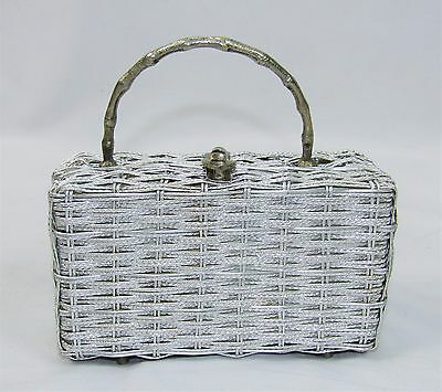 Vintage 60's Silver Tone Wire Weave Handbag Box Purse Made In Hong Kong