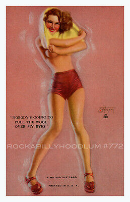 Pin Up Girl Poster 11x17 Mutoscope Card Brunette do you still prefer blondes?