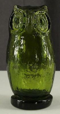 "Vintage Art Glass Olive Green PILGRIM Figural OWL Bird 5"" Tall Figurine"