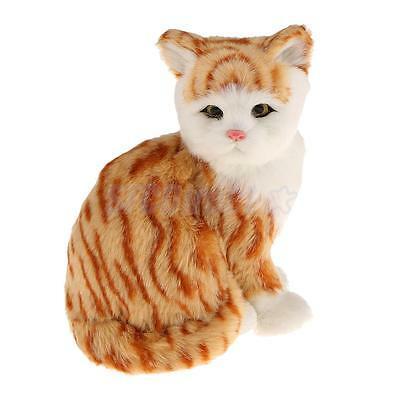 "Mini Sitting Ginger Tabby Cat 7.87"" Plush Simulation Cuddly Kid Toy Decor"