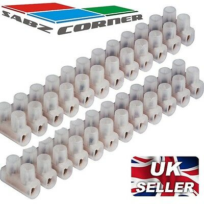 2x CONNECTOR STRIPS POWER ELECTRICAL 3A 5A 15A 30A TERMINAL 12 WAY BLOCK WIRE