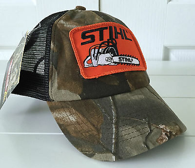 detailed look 3ca9d 0cece Stihl Realtree Camo   Mesh Trucker Style Hat Cap w Orange Chainsaw Stihl  Patch