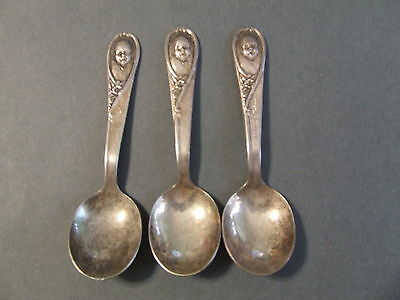 3 Vintage Winthrop Silverplate Gerber Collectible Toddler Baby Spoons 2 Engraved