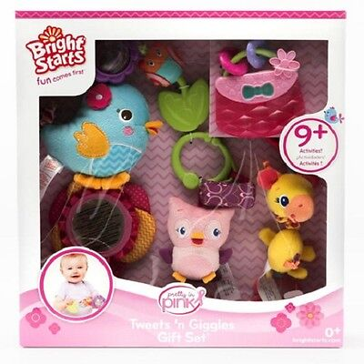Bright Starts 5 Piece Tweets n Giggles Rattles Teethers Baby Girl Gift Set